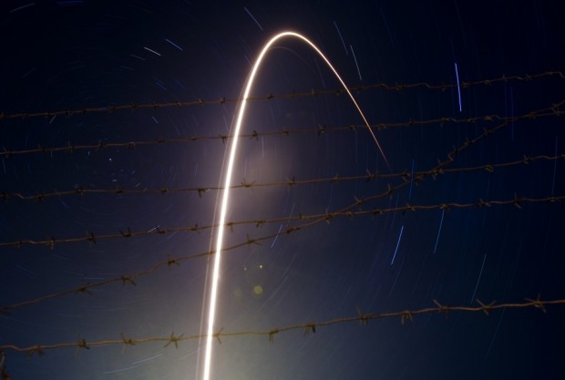The Russian Soyuz TMA-21 spacecraft, named after the first cosmonaut Yuri Gagarin, carrying the International Space Station (ISS) crew of U.S. astronaut Ronald Garan and Russian cosmonauts Alexandr Samokutyaev and Andrey Borisenko, leaves a trail across sky on this long exposure picture, as it blasts off at the Baikonur cosmodrome April 5, 2011.  Source: Reuters