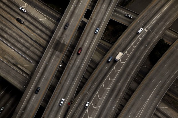 The 10/110 freeway interchange is seen in Los Angeles, Calif., July 16, 2011.  Source: Reuters