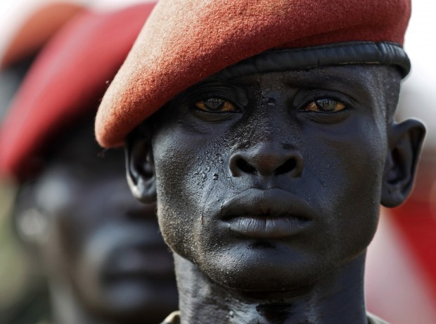 A Sudan People's Liberation Army (SPLA) soldier stands in line during a rehearsal of the Independence Day ceremony in Juba July 5, 2011. REUTERS/Goran Tomasevic (SUDAN - Tags: SOCIETY POLITICS MILITARY)  Source: Reuters